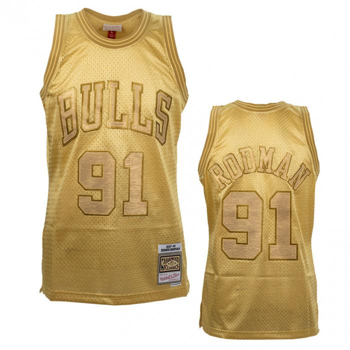 Dennis Rodman 91 Chicago Bulls Mitchell & Ness Midas Swingman Metallic Gold Trikot