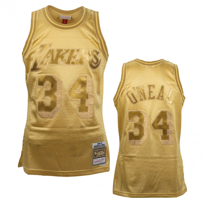 Shaquille O'Neal 34 Los Angeles Lakers Mitchell & Ness Midas Swingman Metallic Gold dres