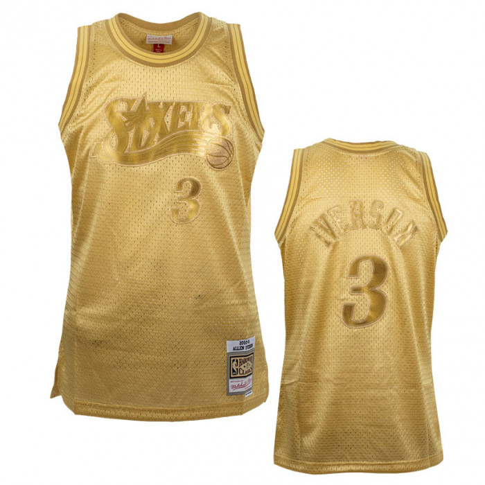 Allen Iverson 3 Philadelphia 76ers Mitchell & Ness Midas Swingman Metallic Gold Trikot