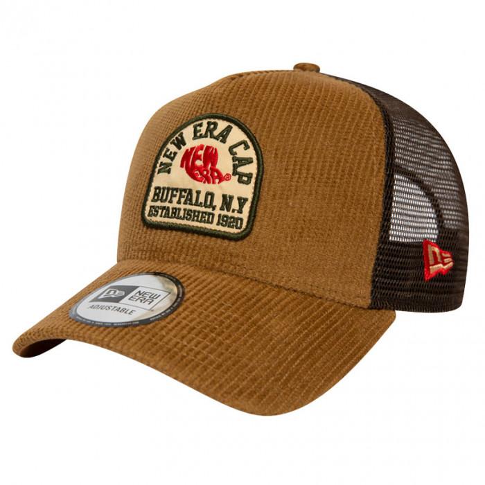 New Era Fabric Patch Brown Trucker kapa