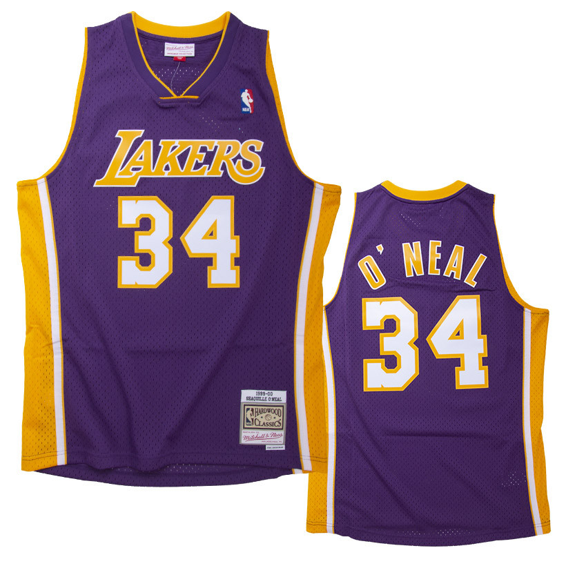 Shaquille O'Neal 34 Los Angeles Lakers 1999-00 Mitchell & Ness Road Swingman Jersey