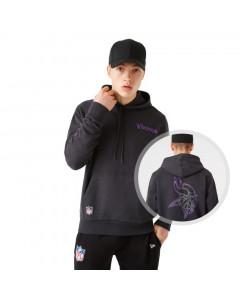 Minnesota Vikings New Era Outline Logo Graphite pulover s kapuco