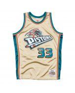 Grant Hill 33 Detroit Pistons 1997 Mitchell & Ness Gold Swingman dres