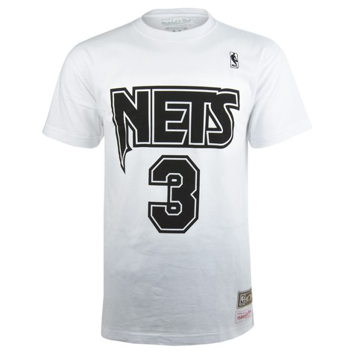 buy popular 38af5 da86c Dražen Petrović #3 New Jersey Nets Mitchell & Ness Black & White T-Shirt