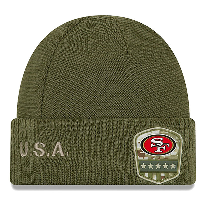 New Era San Francisco 49ers Beanie on Field 2019 Salute to Service Knit