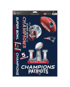 New England Patriots večnamenske nalepke Super Bowl LI Champions