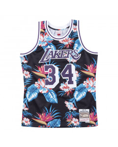 Shaquille O'Neal 34 Los Angeles Lakers 1996-97 Mitchell & Ness Swingman Floral Black dres