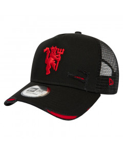 Manchester United New Era Trucker Distressed Black Mütze