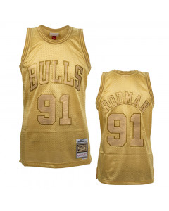 Dennis Rodman 91 Chicago Bulls Mitchell & Ness Midas Swingman Metallic Gold Trikot
