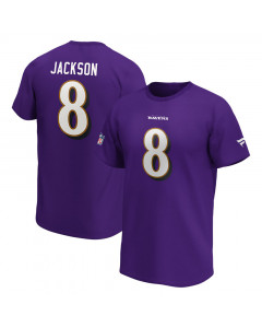 Lamar Jackson 8 Baltimore Ravens Iconic Name & Number Graphic majica