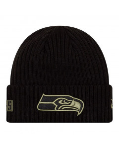 Seattle Seahawks New Era NFL 2020 Official Salute to Service Black Wintermütze