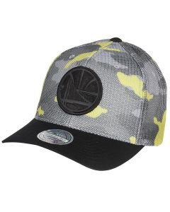 Golden State Warriors Mitchell & Ness Flou Camo Flexfit 110 kačket