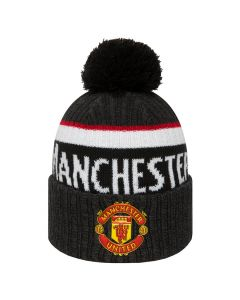 Manchester United New Era Black Bobble Cuff Knit Wintermütze