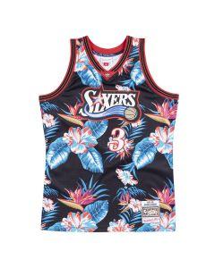 Allen Iverson 3 Philadelphia 76ers 1997-98 Mitchell & Ness Swingman Floral Black dres