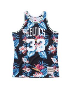 Larry Bird 33 Boston Celtics 1985-86 Mitchell & Ness Swingman Floral Black Trikot