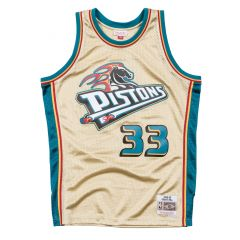 Grant Hill 33 Detroit Pistons 1997 Mitchell & Ness Gold Swingman dres