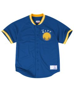 Mitchell & Ness Seasoned Pro Mesh Button Front Shirt Golden State Warriors