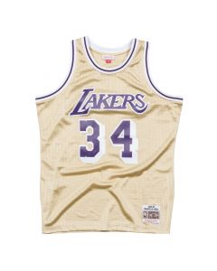 Shaquille O'Neal 34 Los Angeles Lakers 1997 Mitchell & Ness Gold Swingman dres